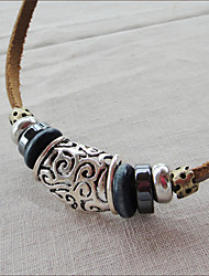 Мужская кожа ручной Vintage Bib Necklace (длина: 45 см)