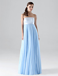 Lanting Bride® Floor-length Chiffon Bridesmaid Dress - Sheath / Column Strapless Plus Size / Petite with Draping / Pleats