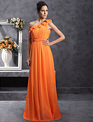 Floor-length Chiffon Bridesmaid Dress Sheath / Column One Shoulder Plus Size / Petite with Draping / Flower(s) / Pleats