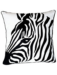 Zebra Head Cotton Decorative Pillow Cover
