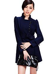 CHAO LIU pied de col simple sein foncé Manteau Tweed bleu