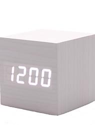 White Wooden Design White Light Desktop Mini Cubic Alarm Clock Calendar Thermometer (USB)