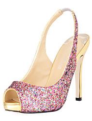 espumosos brillo talón de estilete bombas peep toe o zapatos sandalias de fiesta / noche con lentejuelas