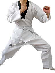 White Pure-cotton Long Sleeve Taekwondo Suit(Tops+Bottoms+White Belts,Assorted Sizes)
