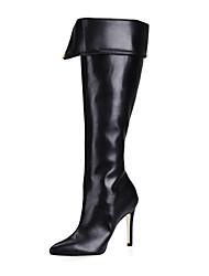kunstleer naaldhak knie hoge laarzen met rits party / avond schoenen