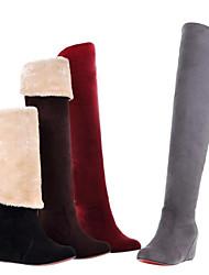 Damen Wolle flach über dem Knie Snow Boots