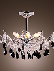 Elegant Black Crystal Chandelier with 6 Lights