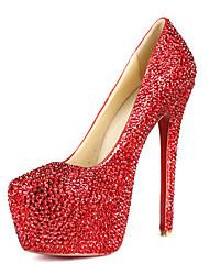 Talón de estilete de cuero elegante Cerrado Toe Fiesta / noche zapatos