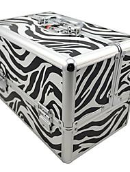 3 вкладыша ювелирные изделия Comestic Организация макияжа поезда алюминиевый корпус коробки с Zebra для печати