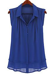 Women's Chiffon Sleeveless Blouse Shirt