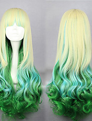 Lolita Wigs Sweet Lolita Color Gradient Long Golden / Green Lolita Wig 75 CM Cosplay Wigs Patchwork Wig For Women