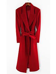 PinkLady Frauen Stilvolle wollenen langen Mantel