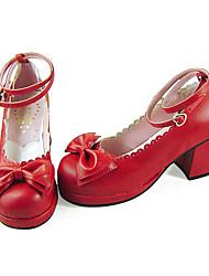 Handmade Wine Red PU Leder 6.3cm High Heel Sweet Lolita Schuhe