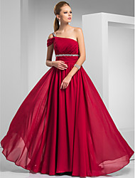 Prom/Formal Evening/Military Ball Dress - Burgundy Plus Sizes Sheath/Column One Shoulder Sweep/Brush Train Chiffon