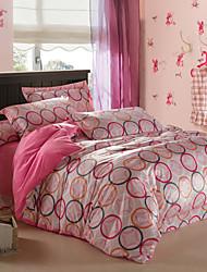 Modern Pink Circle Velvet Full 4-Piece Duvet Cover Set