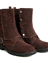 England Style Men's Real Leather  Mid-Calf Winter Boots with Buckle
