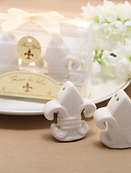 """Fleur-de-Lis"" Salt & Pepper Shakers en céramique (Lot de 2)"