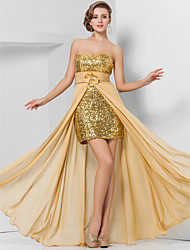 Sheath / Column Strapless Sweetheart Floor Length Asymmetrical Chiffon Sequined Prom Dress with Flower by TS Couture®
