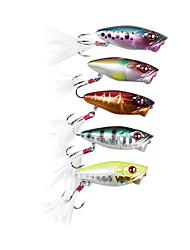 1 pcs Isco Duro / Popper de Pesca / Iscas Popper de Pesca / Isco Duro Verde / Amarelo / Dourado / Vermelho / Azul / Cores Aleatórias g/