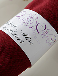 Personalized Paper Napkin Ring - Fuchsia Flower (Set of 50)