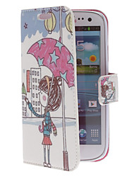Girl Holding an Umbrella Pattern PU Leather Case with Stand for Samsung Galaxy S3 I9300