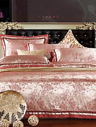 4 peças-de-rosa floral jacquard de poliéster capa de edredão conjunto completo