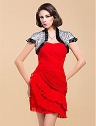 Elegant Short Sleeves Satin With Sequins Wedding / Special Occasion Evening Jacket / Wrap Bolero Shrug