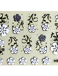 3PCS 3D Nail Art Stickers HB No.7 série de bande dessinée Noir Transparent