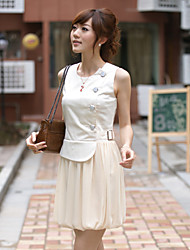 EVRAY High Waist Almond Puff Skirt Dress