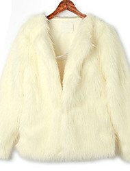 Long Sleeve Collarless Office Faux Fur Coat(More Colors)