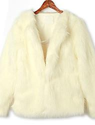 Manga comprida gola do casaco de pele do falso Escritório (mais cores)