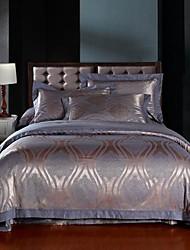 4 peças roxo jacquard de algodão capa de edredão conjunto