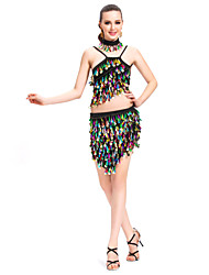 Dancewear Polyester Sequined Performance Latin Dance Outfit For Ladies More Colors