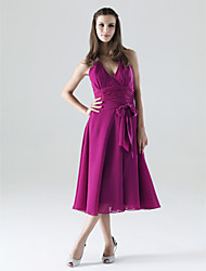 A-Line Halter V-neck Tea Length Chiffon Bridesmaid Dress with Bow(s) Sash / Ribbon Ruching by LAN TING BRIDE®