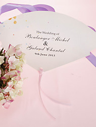 Personalized Pearl Paper Hand Fan - Pink Romance(Set of 12)