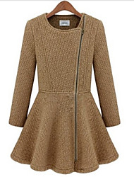 PINKLADY Lady Round Neck Zipper Pleat Swing Sheath Tweed Coat