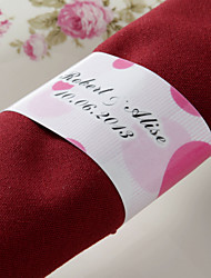 Personalized Paper Napkin Ring - Pink Romance (Set of 50)