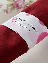 Personnalisé Rond de Serviette Papier - Romance Rose (Lot de 50)