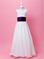 LAN TING BRIDE A-line Princess Floor-length Flower Girl Dress - Chiffon Scoop with Draping Sash / Ribbon Ruffles
