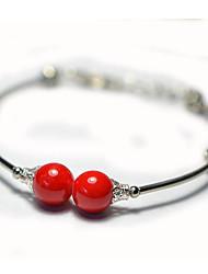 Femmes Simple Double Bracelet Rouge Argent Balls