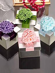 Doux Tin Cuboid faveur métal avec des fleurs - Lot de 6 (plus de couleurs)