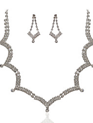 Alloy With Elegant Rhinestone Wedding Jewelry Set Including Tiara,Necklace,Earrings