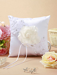 Beautiful Wedding Ring Pillow With Flower And Rhinestone