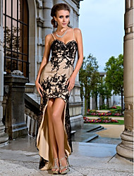 Trumpet/Mermaid Sweetheart Spaghetti Straps Asymmetrical Knitwear And Tulle Evening Dresses