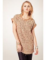 I-DOU Women's Coffee Short Sleeve Sequins Plush Dress