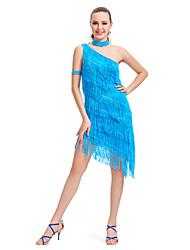 polyester épaule Robe d'un avec la performance glands Robe de danse latine pour les dames des couleurs plus