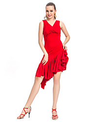 Dancewear V-Front Viscose With Ruffles Latin Dance Dress for Ladies
