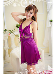 Women's Purple Satin Ligerie Dress with T-back