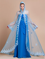 Wedding  Wraps / Hoods & Ponchos Capes Long Sleeve Organza Sky Blue Wedding / Party/Evening Embroidery Clasp