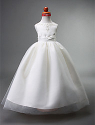 Ball Gown Floor-length Flower Girl Dress - Satin Tulle Straps with Appliques Beading Draping Ruching